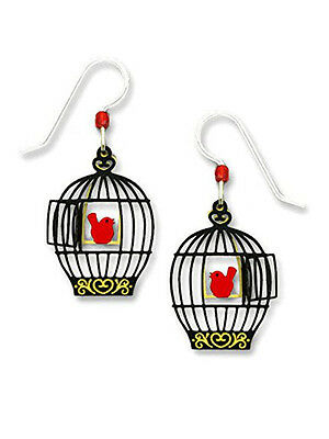 Sienna-Sky-Open-BIRD-CAGE-with-RED-BIRD-on-Swing-EARRINGS-STERLING-1808-Box