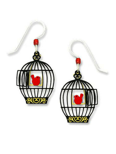 Box Sienna Sky Open BIRD CAGE with RED BIRD on Swing EARRINGS STERLING Silver