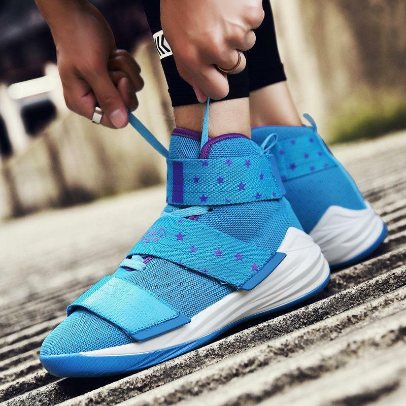 Mens Breathable Sports Athletic Top Sneakers Basketball Shock shoes High Casual