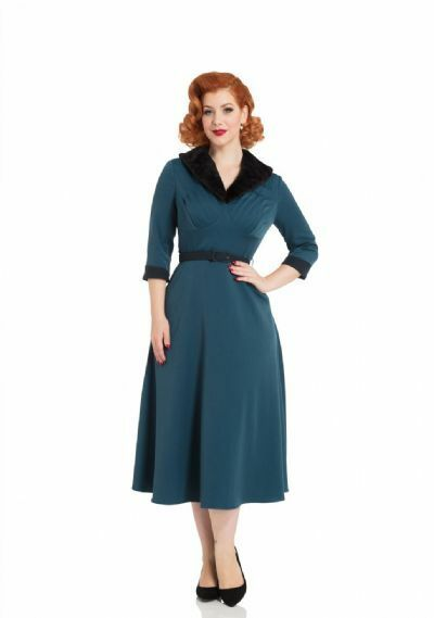 VOODOO VIXEN NWT bluee Retro 40's Vintage Fit Flare Long Fur Collar Midi Dress 12