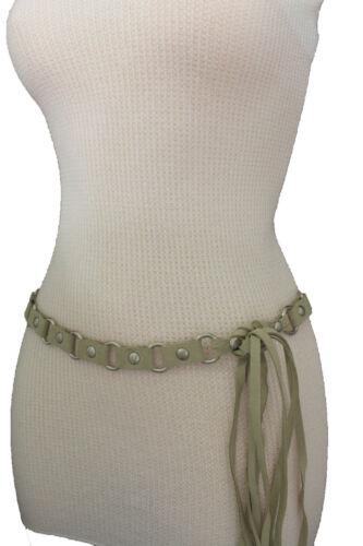 Women Ivory Fashion Tie Belt Hip High Waist Silver Metal Rings Faux Suede S M