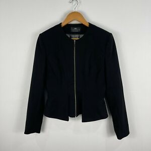 Cue Womens Jacket 10 Black Long Sleeve Round Neck Zip Closure Lined