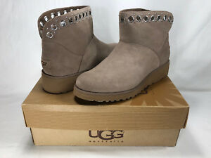 006e42056a1c Image is loading UGG-RILEY-MINI-GROMMET-SUEDE-SHEARLING-WEDGE-BOOTS-