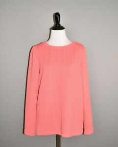 TALBOTS-68-Coral-Textured-Long-Sleeve-Crew-Neck-Sweatshirt-Medium