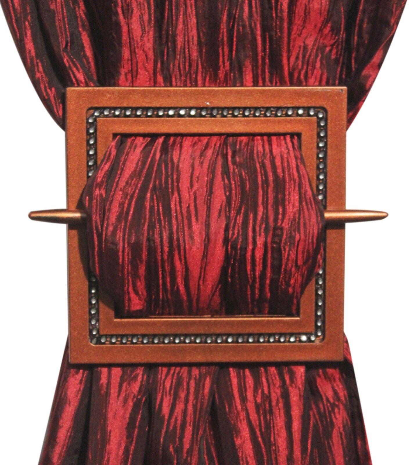 Decorative Curtain Holdbacks Set Of 2 Curtain Tiebacks Shining Square Bronze Ebay