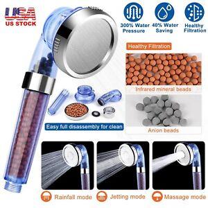 3 Mode High-Turbo Pressure Shower Head Bath Ionic Filtration 40/% Water Saving
