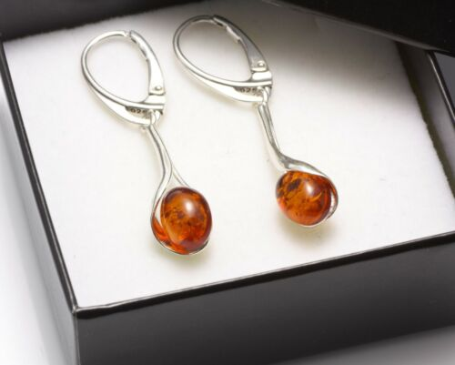NATURAL BALTIC AMBER STERLING SILVER 925 Earrings Certified BOX