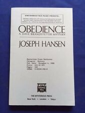 OBEDIENCE - UNCORRECTED PROOF SIGNED BY JOSEPH HANSEN