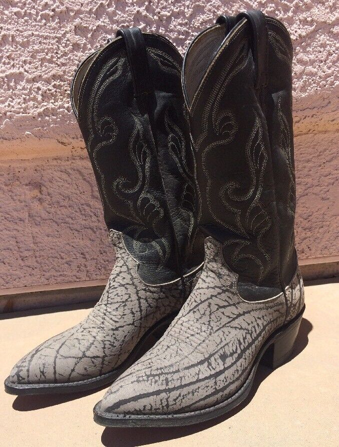 Dan Post men's size 7 D Cowboy boots Sueded Buffalo Bull leather USA Grey Black