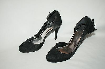 Karen Millen Encaje Negro Hermoso Tribunal Zapatos Talla EU39
