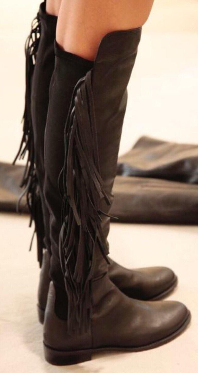 Stuart Weitzman Mane Fringe Over the Knee Black Leather Stretch Boots Boho 7 NEW