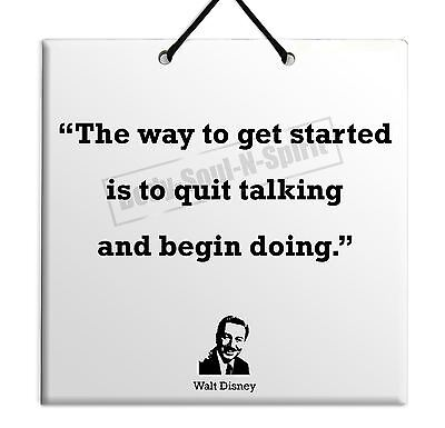 Walt Disney Quote Ceramic Wall Hanging Plaque TILE Gift Sign Home Decor