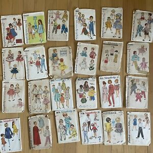 Lot Of 24 Vintage Children's Girls Sewing Patterns Simplicity 50s 60s