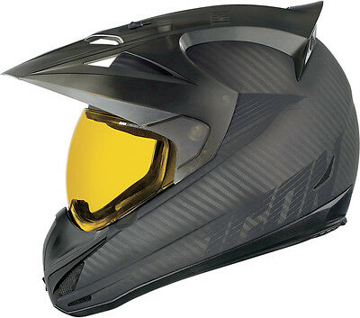 *Ships Same Day* ICON Variant (Ghost Carbon) Motorcycle Helmet w/Yellow Shield
