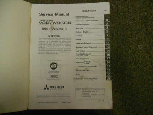 1987 MITSUBISHI Van Wagon Service Repair Shop Manual Volume 1 Engine Chassis OEM