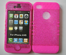 HYBRID Impact Silicone Hard Cover Case + Apple iPhone 4 4S Glitter Pink on Pink