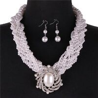 Multi Strand White Faux Pearl Braded Brooch Look Pendant Necklace Earring Set