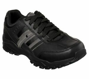 Leather-Black-Skechers-Shoes-Men-Memory-Foam-Sporty-Casual-Comfort-Oxford-66015