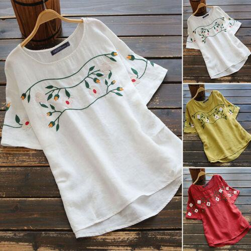 ZANZEA Women Embroidered T-Shirt Asymmetrical Blouse Casual Loose Tee Shirt Tops