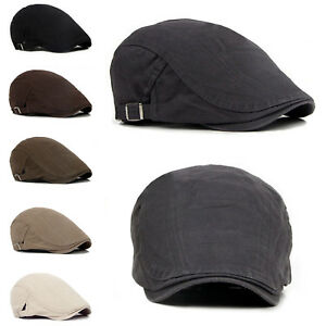 9819478493e Men s Solid Cotton Gatsby Cap Golf Driving Sun Flat Cabbie Beret ...