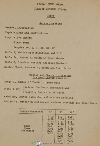 Gleason Spiral Bevel Gear Jobbing System Manual 1940