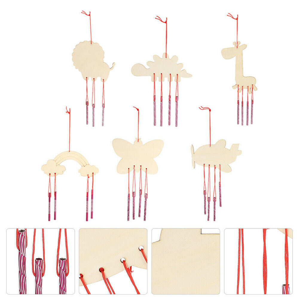 6pcs Smooth DIY Wood Wind Chime DIY Wind Chime for Garden Gift