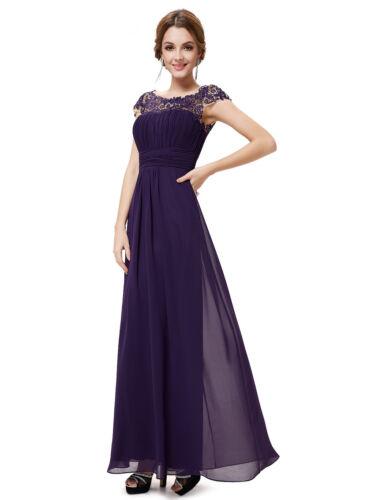 Ever-Pretty Dark Purple Long Cap Sleeve Wedding Dresses Evening Ball Gowns 09993