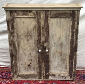 Image Is Loading 19th C Antique Primitive Pine Wall Cabinet In