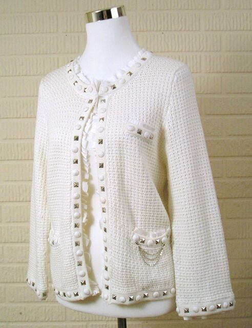 White House Black Market Cardigan Sweater Large White Silver Embellished Dressy