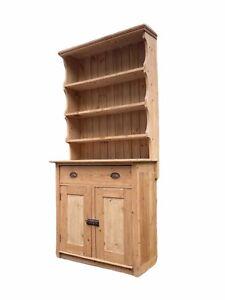 Antique Vintage Pine Open Welsh Dresser Cupboard Bookcase Sideboard Server