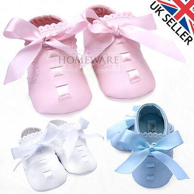 Espressive Baby Girl Scarpe Stile Spagnolo Carrozzina Scarpa Fiocco Scarpa Suola Morbida Bianco Rosa Cielo Crema-