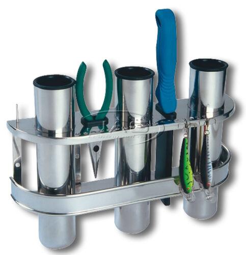 STAINLESS STEEL TRIPLE 3-ROD RACK HOLDER ORGANISER Boat//Fishing//Lure//Storage