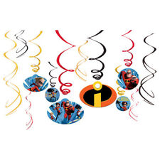 Incredibles 2 Swirl Decoration Birthday Party Supplies Dangler Pack of 12