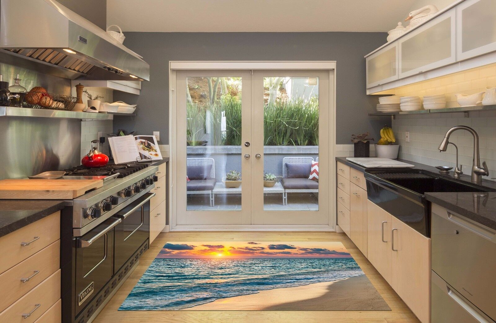 3D Twilight Waves Beach 7 Kitchen Mat Floor Murals Wall Print Wall Deco UK Carly
