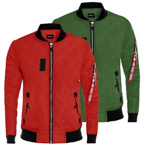 Bomber-Uomo-Invernale-Giubbotto-Aviator-Giacca-Moto-Giubbino-Rosso-Verde