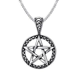 Mens-Wicca-Magic-Pentagram-Pentacle-Star-Stainless-Steel-Pendant-Chain-Necklace