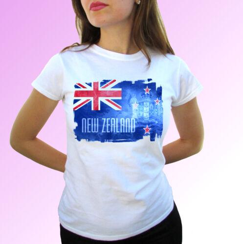 mens womens kids baby sizes New Zealand flag white t shirt top modern tee
