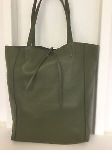 Inner Top Genuine Leather Quali Bag Soft Open In Italy Shoulder Purse Made Green 1Rwzv