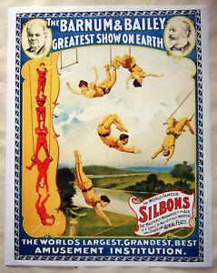 Large Format HiQ Facsimile of 1893 Barnum Bailey Circus Poster~Aerialists 36x28