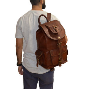 Backpack-Travel-Luggage-Goat-Leather-Hiking-Camping-Bag-Genuine-Brown-Rucksack