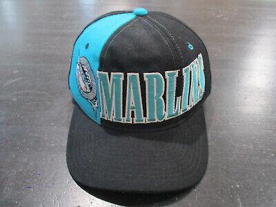 VINTAGE New Era Florida Marlins Snap Back Hat Cap Black Teal MLB Baseball 90s