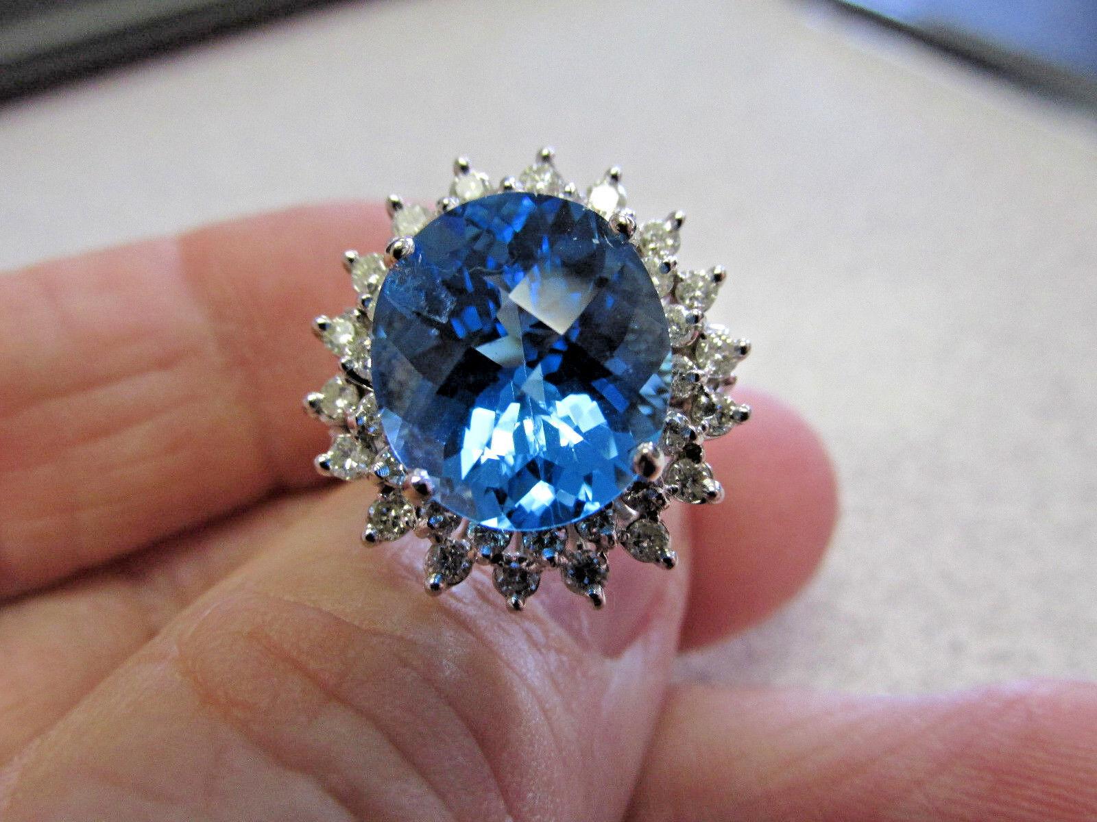 blueE TOPAZ & DIAMOND RING SIZE 6    14 K  WHITE gold    Make Offer