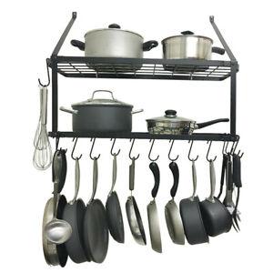 Details About Kitchen Pot Rack Wall Mounted Pan Shelf Hanging Racks 2 Tire Black Hook Usa