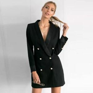 8bf49c0223cf Image is loading Black-Double-Breasted-Slim-Fit-Blazer-Dress-S-M-L