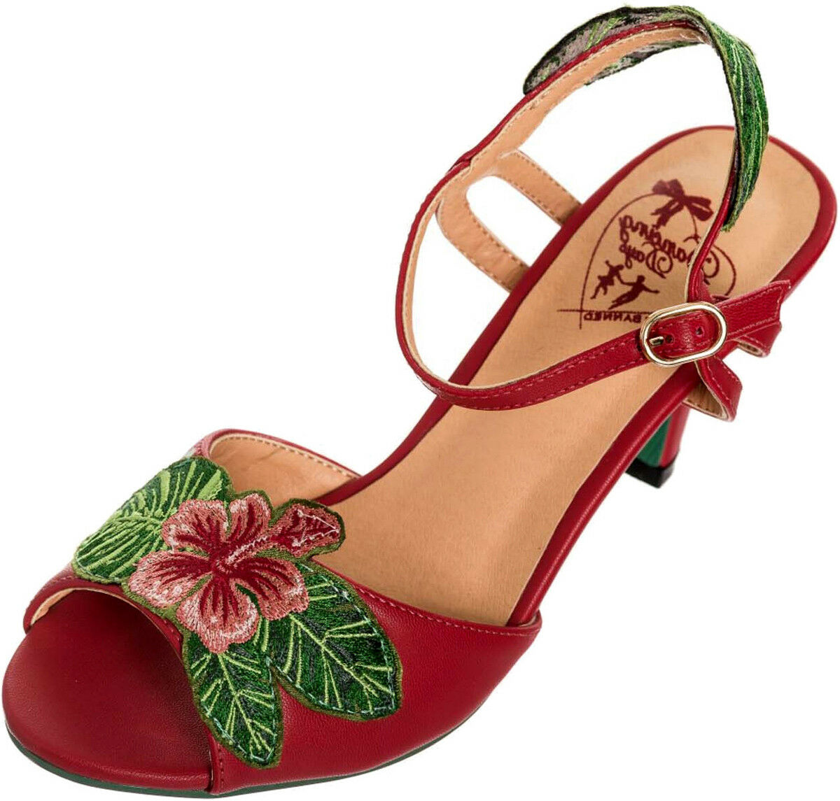Dancing Days APRIL Aloha Tiki HIBISCUS Vintage Peep Toe SANDALETTE Rockabilly