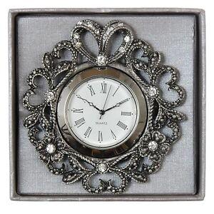 Exclusive-Tischuhr-Standuhr-Uhr-Kuechenuhr-mit-Kristallsteinen-Clayre-amp-Eef