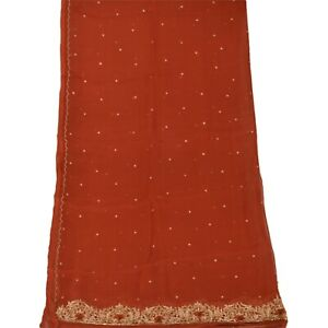 Tcw-Vintage-Dupatta-Long-Stole-Chiffon-Silk-Orange-Hand-Beaded-Wrap-Veil