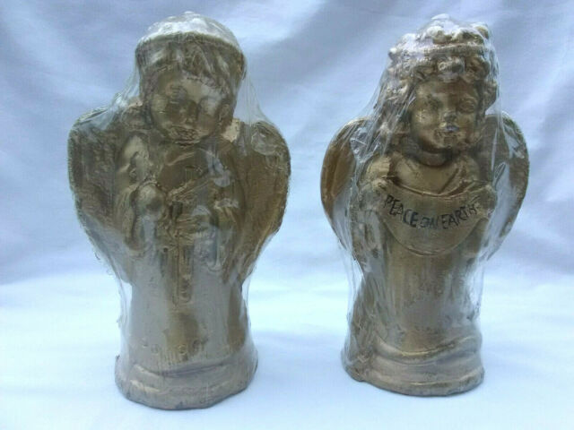 """Vintage 6"""" Angel Candles Candle Craft Candle Co., Gold Set"""