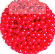 Lot de 100 Perles ronde nacré acrylique rouge 6 mm