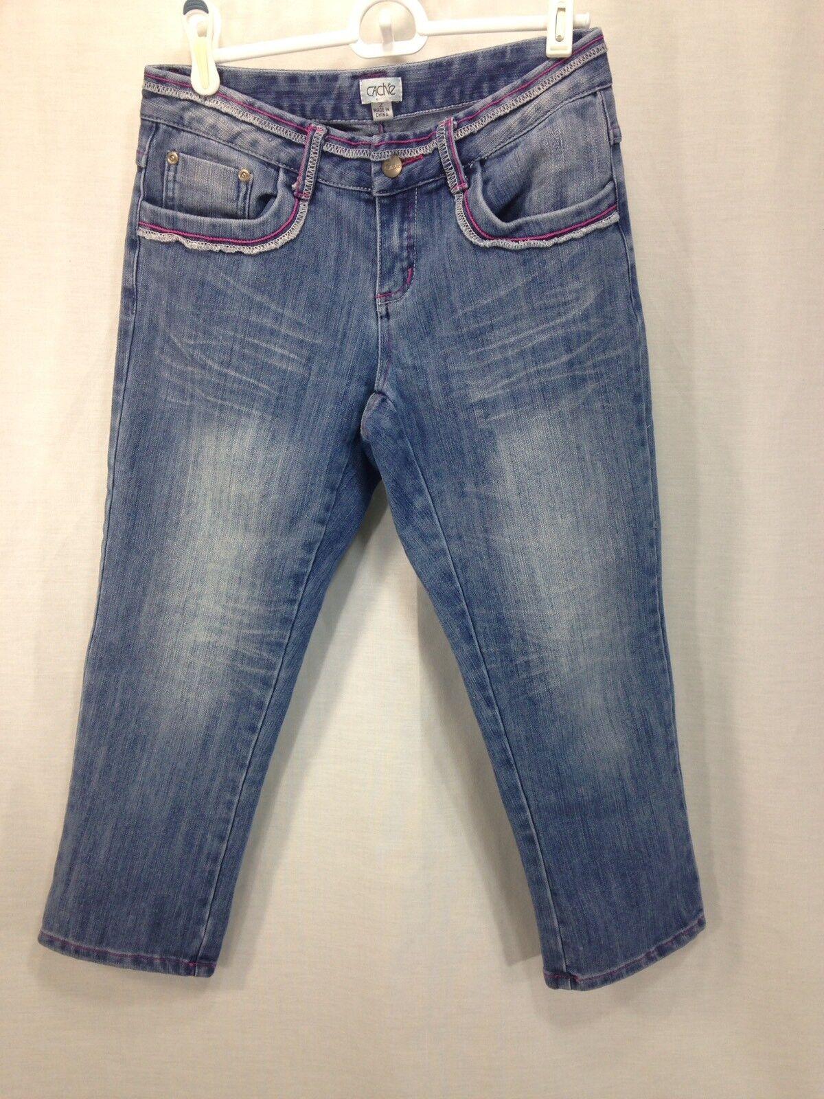 Cache Capri Jeans Womens Size 2 bluee Stretch Denim Cotton Blend Cropped Pants
